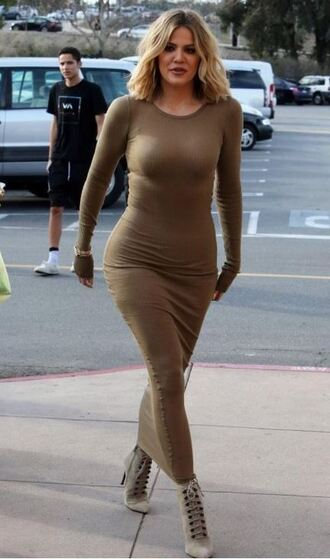 dress bodycon dress maxi dress khloe kardashian fall dress fall outfits ankle boots ribbed