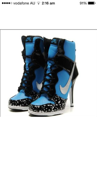 shoes nike sneakers boots nike sneakers high heels blue heels blue nike air