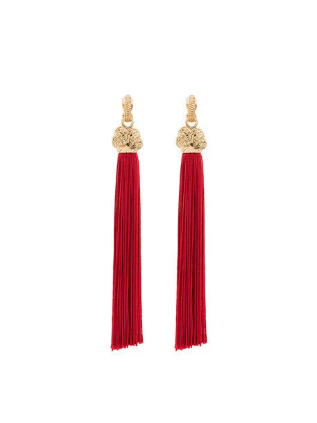 tassel women earrings red jewels