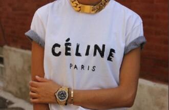 t-shirt celine white shirt top