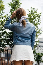 hair accessory,tumblr,bandana,jacket,denim jacket,denim,skirt,mini skirt,white skirt