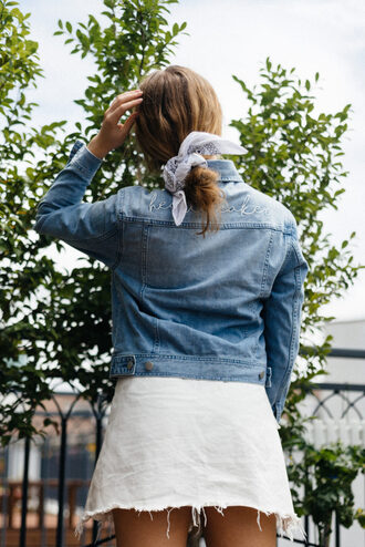 hair accessory tumblr bandana jacket denim jacket denim skirt mini skirt white skirt