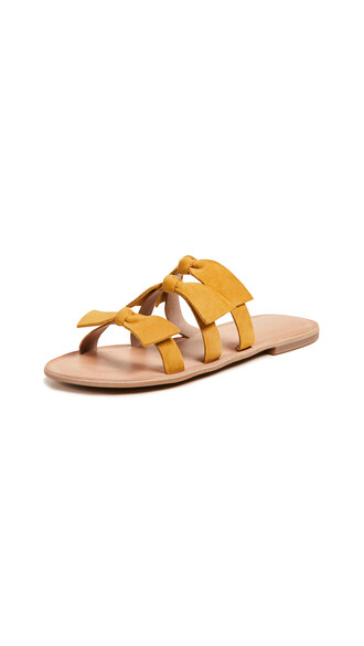 bow sandals mustard shoes