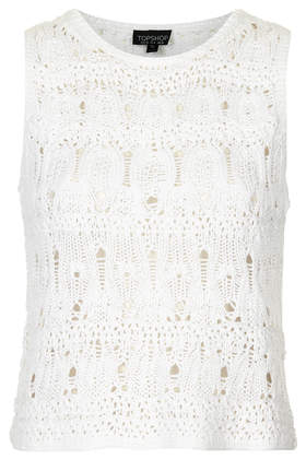 Sleevless Crochet Stitch Crop - Knitwear - Clothing - Topshop