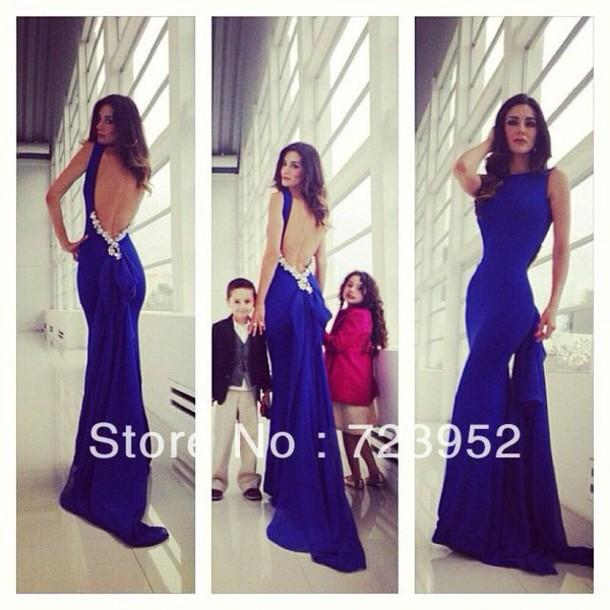 Blue Dress Blue Prom Dress Maxi Dress Cobalt Cobalt Blue
