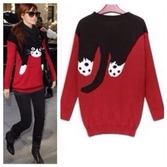 sweater cat sweater cats black cat sweater celebrity style steal