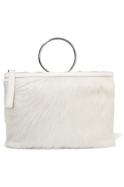 hair clutch leather white off-white bag