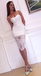 dress,dream it wear it,lace,lace dress,bandage,bandage dress,midi,midi dress,crochet,crochet dress,straps,see through,red carpet,red carpet dress,glamour,classy,classy dress,party,party dress,white,white dress,v neck,v neck dress,sexy,sexy dress,summer outfits,girly,romantic summer dress,pool party