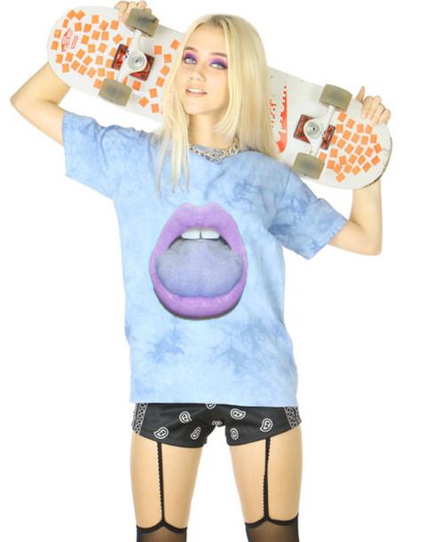 shirt blue mouth weird skateboard t-shirt summer spring la fashion style