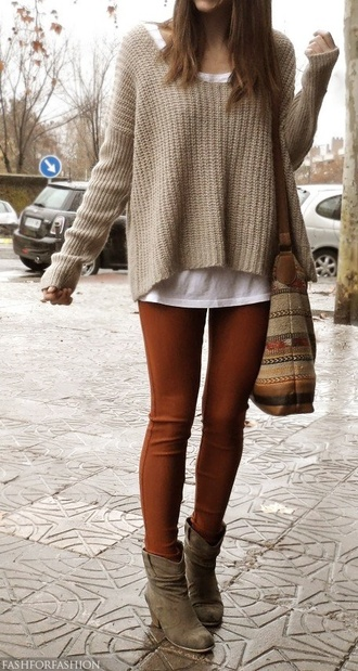 sweater shoes jeans bag indie bag red pullover winter outfits warm sweater pants tan outfit leggings fall outfits blouse orange jeans orange comfy