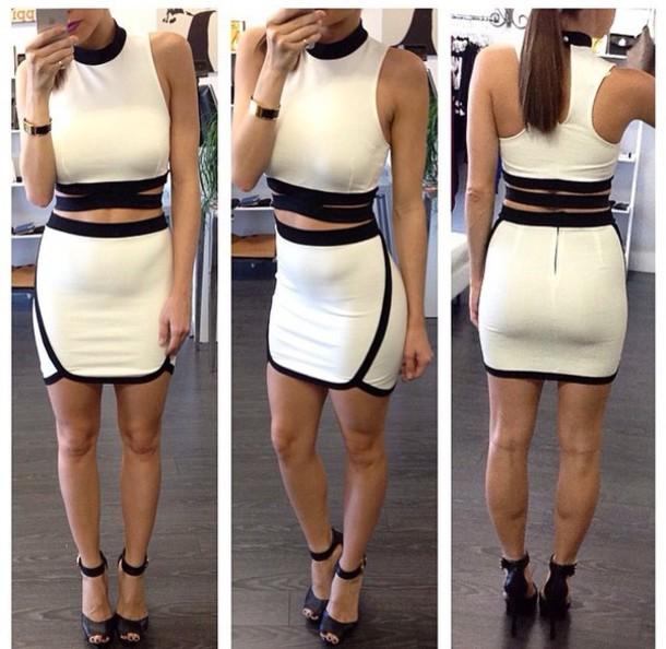 dress black dress white dress two-piece