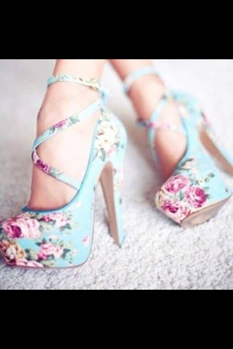 shoes high heels cute floral light blue strappy heels