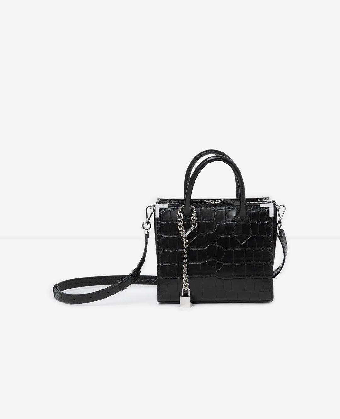 Medium Ming black vintage crocodile bag