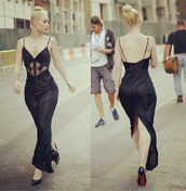 dress,iggy azalea,long dress,black dress,formal dress,formal black dress,formal party dresses,louboutin,blond hair,tattoo,stilettos,blouse