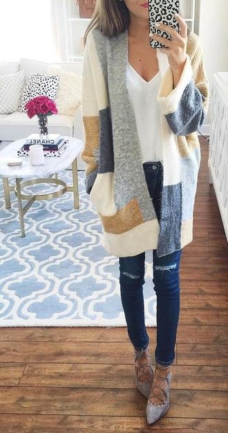 jacket blue white beige sweater cardigann