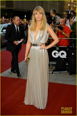 dress metallic gown v-line pleated suki waterhouse belted long dress