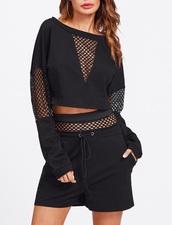 jumpsuit,girly,black,mesh,two-piece,sweater,sweatshirt,shorts