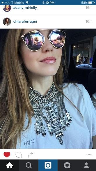 jewels sunglasses chiara ferragni jewelry sunnies mirrored sunglasses blogger the blonde salad chiara necklace statement necklace statement
