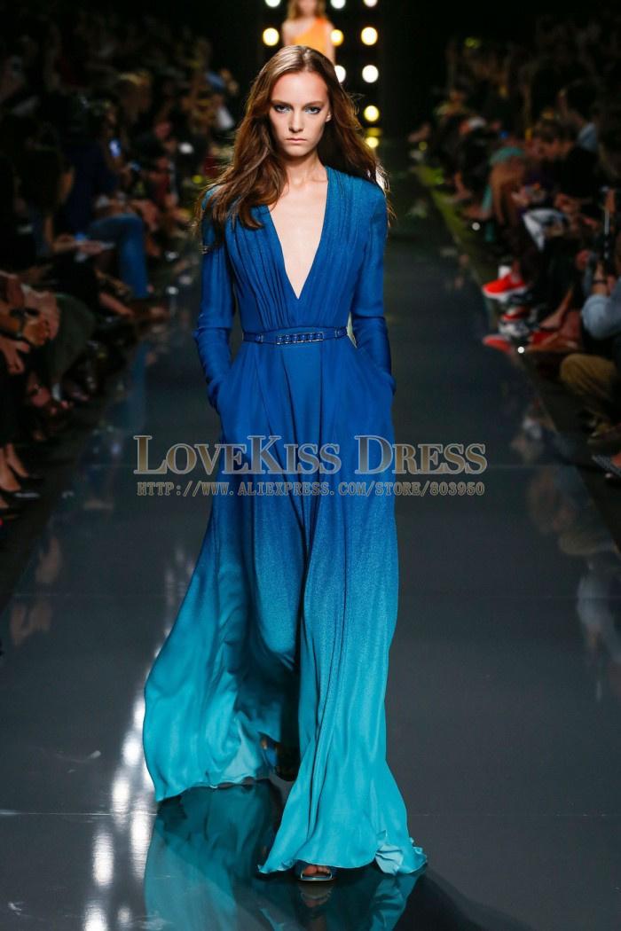 Aliexpress Buy Gradient Prom Dress Vneck Plus Size Long