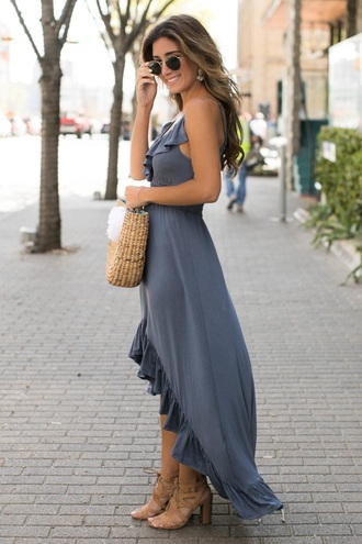 dress blue dress sunglasses bag maxi dress high low dress asymmetrical dress asymmetrical spring outfits sandals