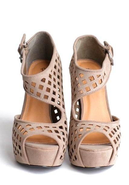Shoes: cool beige wedges fashion heel - Wheretoget