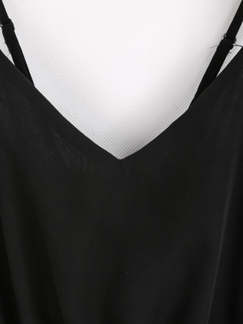 Black Spaghetti Strap Lace Chiffon Jumpsuit - Sheinside.com