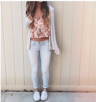 shirt floral tank top cardigan sweatshirt jeans sneakers jewelry jacket