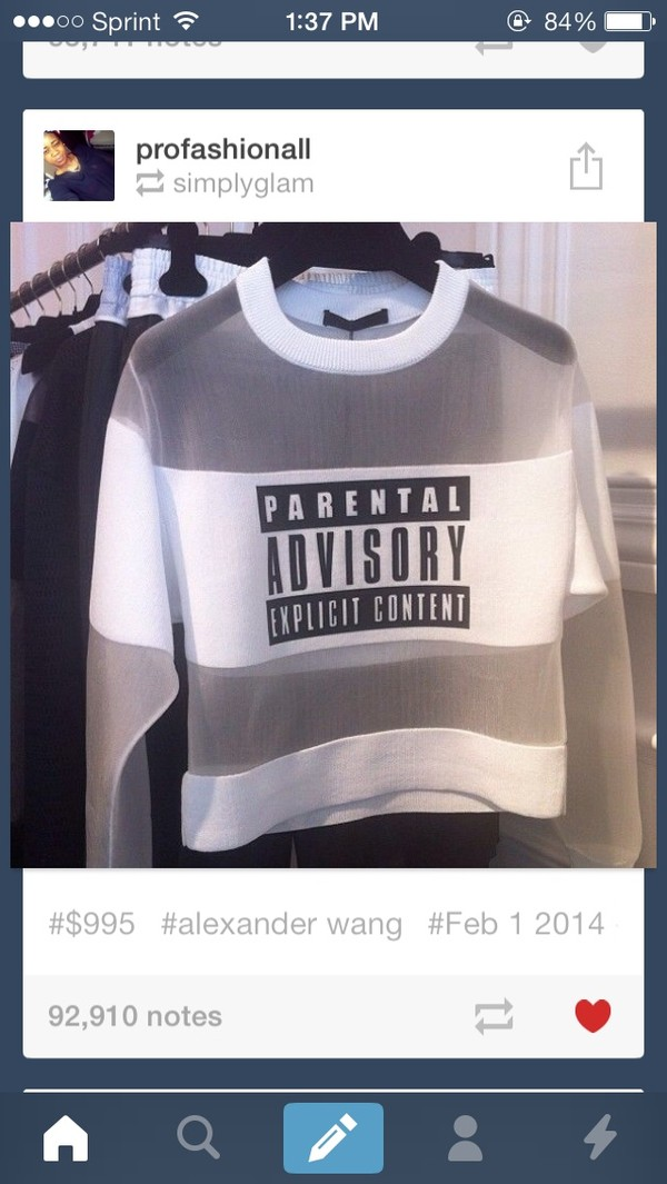 shirt sweater white shirt sheer top parental advisory explicit content parental advisory explicit content