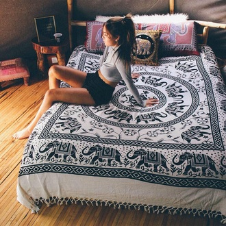 home accessory bedding tapestry boho elephant black white bed comforter mattresses bohemian