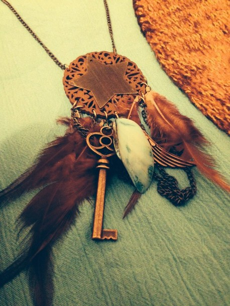 jewels necklace bohemian feathers charm necklace