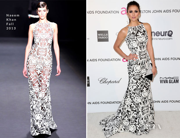 Nina Dobrev In Naeem Khan - 2013 Elton John AIDS Foundation Oscars Party » Red Carpet Fashion Awards
