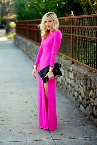 dress slit dress pink hot pink hot pink dress long sleeves long sleeve dress maxi dress pink maxi dress slit maxi skirt jewels siren london pink dress long side slit gown sexy prom dress neon fashion