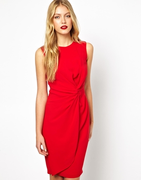 Oasis | Oasis Twist Drape Shift Dress at ASOS