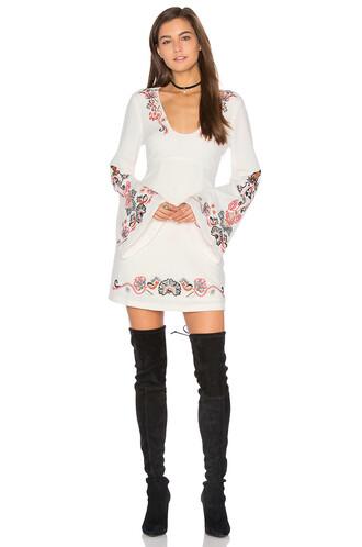 dress mini dress folk mini white
