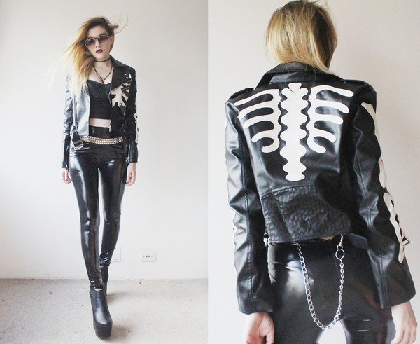 jacket skeleton leather black coat clothes top fashion