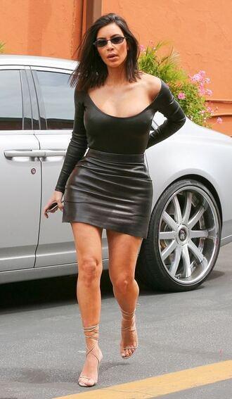 skirt top sandals sandal heels leather skirt kim kardashian kardashians sunglasses spring outfits shoes