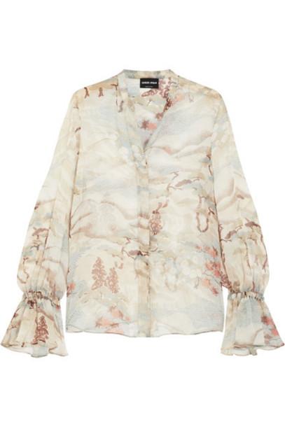 GIORGIO ARMANI blouse silk beige top