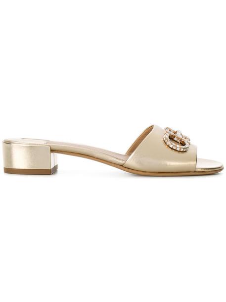 Salvatore Ferragamo heel women embellished sandals leather grey metallic shoes
