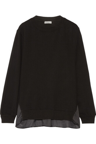 sweatshirt cotton satin black sweater