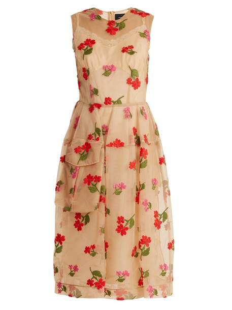 Simone Rocha dress tulle dress embroidered layered floral beige