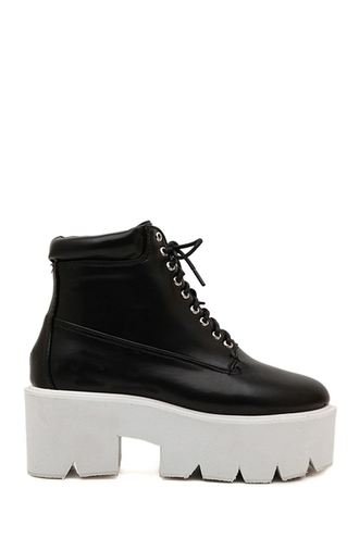 shoes boots platform shoes platform lace up boots back to school black and white zaful