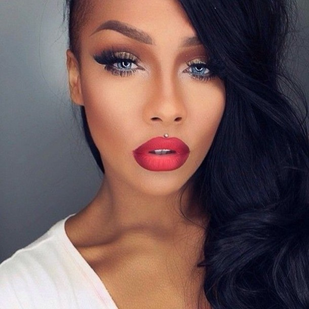 make-up red ombre lips lips ombre tan tanned contour brown blush copper bronze bronzed summer eye shadow eyes eye shadow black mascara highlight contouring brows brow eyebrows white blue burgundy lipstick highlighter