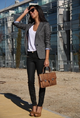 jacket work office outfits blazer bag tee t-shirt jeans shoes grey blazer