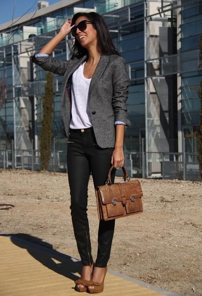jacket office outfits blazer bag t-shirt t-shirt jeans shoes grey blazer pants formal modern