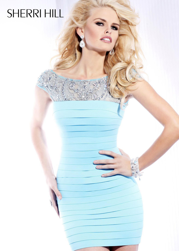 Sherri Hill 2933 Light Blue Bandage Cocktail Dress - $178.00 ...