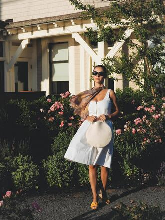 dress tumblr midi dress white dress bag tote bag round tote sandals flat sandals summer dress summer outfits sunglasses
