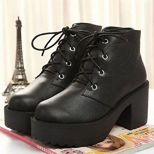 Womens block heels chunky platform goth lace up lady's combat ankle boots