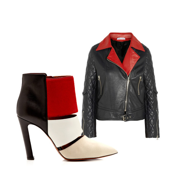 jacket black and red black red two toned two tone leather shoes boots jacket booties stilettos pointed toe