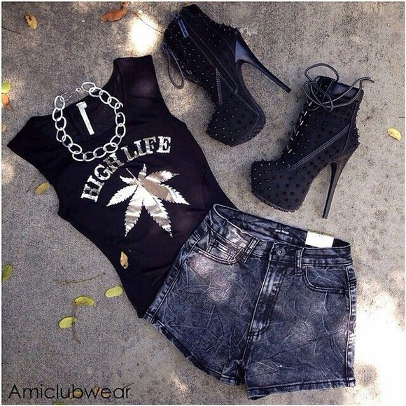 black High waisted shorts top style life jewels