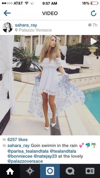 dress white dress lace dress sundress model off the shoulder